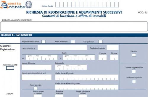 modello rli obbligo registrazione telematica contratti di locazioni e adempimenti successivi